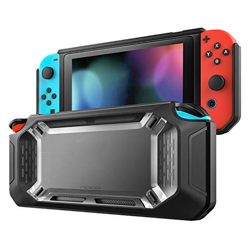 MoKo Funda Compatible con Nintendo Switch, Resistente Delgado Protector Duro Carcasa del Switch, Amortiguación y Antiarañazos para Consola Nintendo Switch y Joy con Controllers 2017 - Claro y Negro