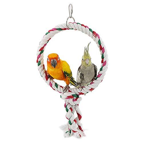 LeerKing Juguete del Pájaro Columpio Loro Percha de Cuerda de Algodón para Loros Juguetes para Masticar Guacamayo Periquito Cotorra, 1 Anillo
