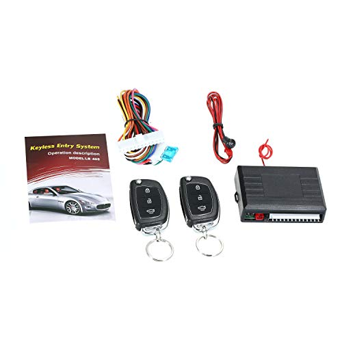 KKmoon Universal Car Door Lock Trunk Release Keyless Entry System Central Locking Kit with Remote Control Trunk Pop Support 1 Million Code Times
