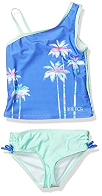 Nautica Girls Tankini Swim Suit with 50+ Sun Protection, Shoulder Palm Dazzle Blue, S7