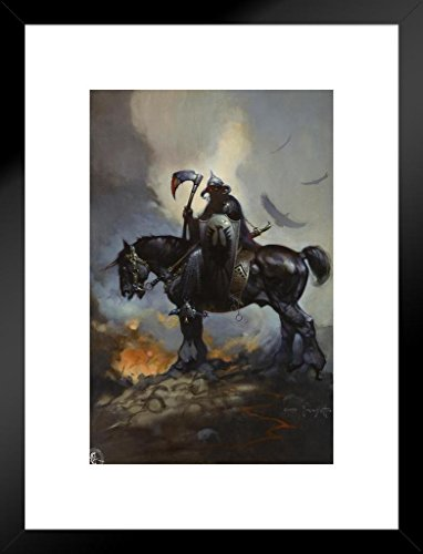 Poster Foundry Death Dealer by Frank Frazetta Art Print Matted Framed Wall Art 20x26 inch