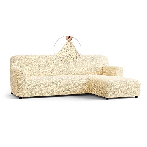 Menotti Ecksofa-Überzug in L-Form, für Sofa und Sessel, elastischer Stoff, Leinen, beige, L-Shape Right
