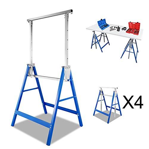 BMOT 4x Teleskop-Arbeitsbock, tragbar Multifunktionsklappbock,Tragkraft 250 kg, Unterstellbock höhenverstellbar 80-130 cm, Gerüstbock aus Stahl-Vierkantrohr, kratzfeste Kunststoffbeschichtung