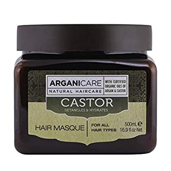 Arganicare Natural Organic Castor Oil & Argan Oil deep conditioning hair mask enriched with shea butter Strengthening hydrating & restorative treatment for dry damaged and colored hair 16.9 Fl.Oz.