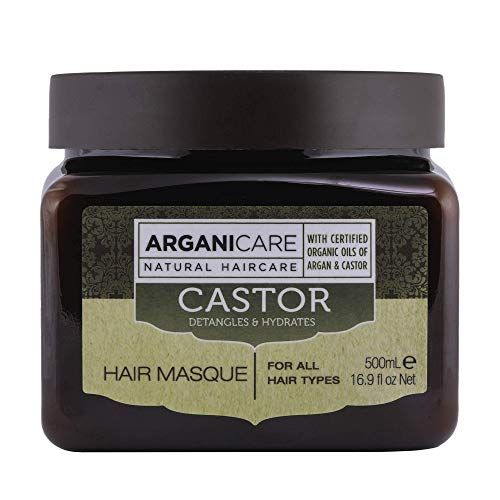 Arganicare Natural Organic Castor Oil & Argan Oil deep conditioning hair mask enriched with shea butter. Strengthening, hydrating & restorative treatment for dry, damaged and colored hair 16.9 Fl.Oz.