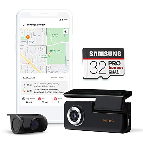 FineVu GX30 Dash Cam, Front and Rear Full HD, Sony Sensor, Built-in WiFi & GPS, Speedcam Voice Alert, Hardwiring Cable, Samsung 32GB Micro SD Included.