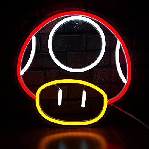 JYDNBGLS Señal de luz de neón LED para decoración de sala de juegos Super Mushroom NPC Decoración de pared para dormitorio, cueva de hombre, fiesta, club de juegos de neón