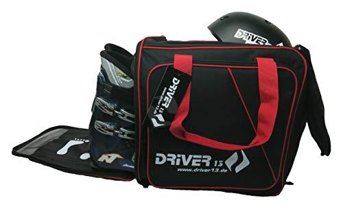 Driver13 ® Mochila para Botas de esquí con Compartimento para Casco + Mochila para Botas de esquí con Compartimento para Casco Duro + Botas de Snowboard + Inliner + Bolsa para Botas Negro-Rojo