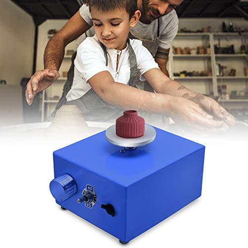 4YANG Mini Ruota in Ceramica 2000 RPM,Piatto Rotante Elettrico da 6,5 cm a 10 cm Strumnto di Argilla Fai da Te per la Punta delle Dita con Vassoio per Ceramic Work Ceramic Clay (Blu)