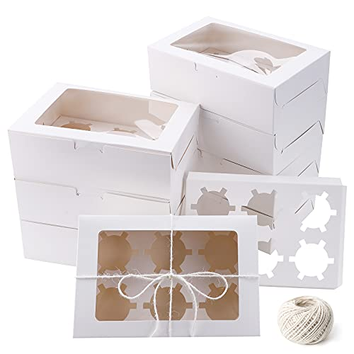 Boîtes à cupcakes avec fenêtre et insert, paquet de 10 boîtes de boulangerie Boîtes à cupcakes blanches Boîtes à biscuits à 6 trous pour pâtisseries Cupcakes Biscuits friandises, avec ficelle de 25 m