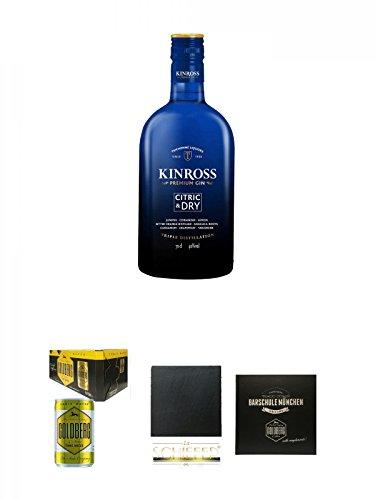 Kinross Gin Citric & Dry 0,7 Liter + Goldberg Tonic Water DOSE 8 x 0,15 Liter Karton + Schiefer Glasuntersetzer eckig ca. 9,5 cm Durchmesser + Barschule München Buch