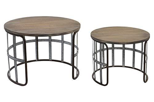 Indhouse - Set de 2 - Mesa Auxiliar para decoración Estilo Industrial Tipo Loft en Metal Negro y Madera Lana