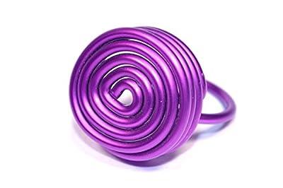 Bague en aluminium anodisé.Couleur violet.Ajustable.Modèle Astéroïde