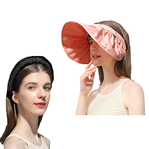 YISD 2Pcs Empty Top Face Cover Sun Hat, Sun Foldable Floppy Visor Hats for Women, Ladies Outdoor Sport Big Brim UV Protection Empty Top Hat All-Match Shell Hat