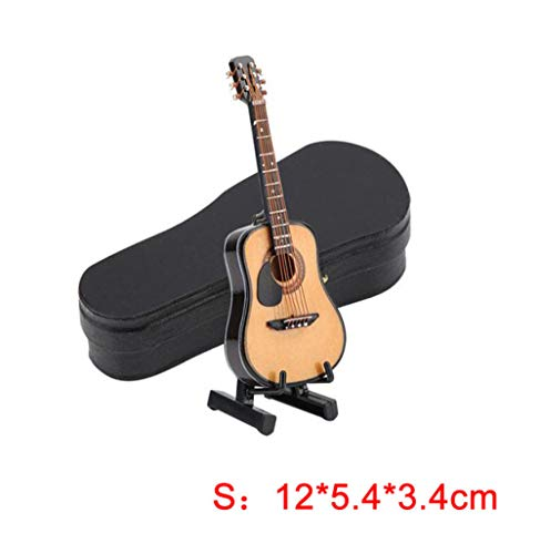 BINGFEI Miniature Wooden Guitar Model Display Mini Ornaments Craft Home Decoration Accessories Decoration Maison,S
