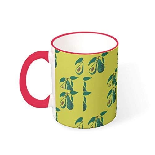 O2ECH-8 11 ounce avocado-gele mixer koffiebeker met handvat porselein glossy beker - zoete vruchten Kerstmis heden - pak voor woonhuis te gebruiken