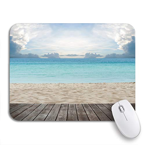 Adowyee Gaming Mouse Pad Blue Dock Wooden Platform Beside Tropical Beach Brown Scene 9.5'x7.9' Nonslip Rubber Backing Mousepad for Notebooks Computers Mouse Mats