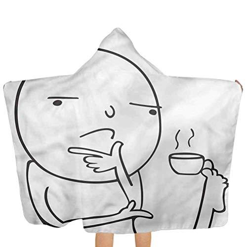 ZHSL Hooded Baby Handtuch Humor, nachdenklich Meme Kaffee Soft Beach Handtuch für Jungen Kinder Kinder Geschenk 51,5x31,8 Zoll