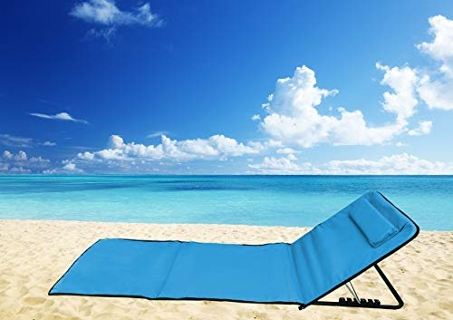 Pincho Esterilla de Playa Plegable portátil con Respaldo Ajustable y reposacabezas 145x47x50cm Bolsillo de Almacenamiento