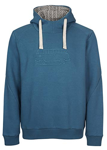 Elkline Herren Hoodie Advanture Kapuzenpulli Sweatshirt mit VW T1 Bulli Stick, Farbe:darkocean, Größe:XL