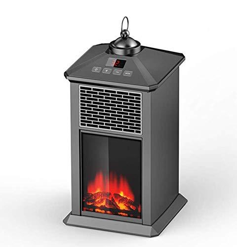 Phil Beauty Farol Calefactor con Efecto De Llama, LED, Control Remoto, Bajo Consumo 900W El Ahorro De Energía Calentador De Oficina para Dormitorio, 17X17x35cm,Negro