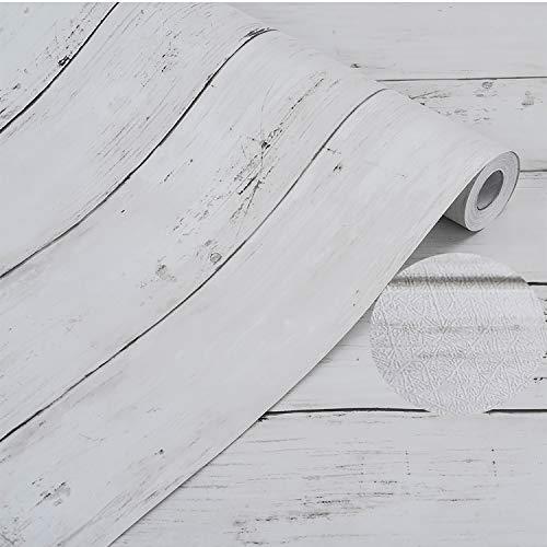 壁紙 厚手 Harmn home 壁紙シール はがせる リメイクシート カッティングシート 木目 ふすま紙 アンティー ホワイト 45cm X 10m ………