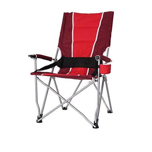 HYXI-Klappstuhl Hoher rückseitiger Klappstuhl, Lehnsessel, Roter Bund, beweglicher Wanderer-Strand, der kampierenden Skizzen-Stuhl/maximale Last 130KG kampiert