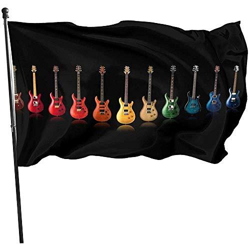 wallxxj Fahne Gitarre Regenbogen Farben Garten Fahnen Lebendige Standard Bunte Yard Flagge Willkommen Outdoor Druck Yard Banner Urlaub 150X90 cm