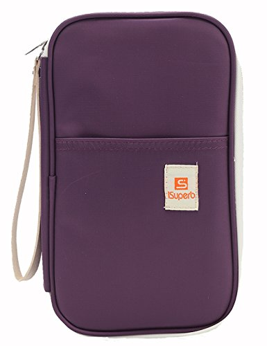 iSuperb Passport Wallets Organizer Waterproof Polyester Travel Wallet Purse Bag with Document...