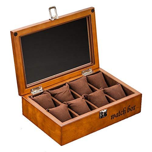 FIONAT Uhrenbox Schmuckkästchen Herren Geschenk Reisen Damen Kaffee Farbe Retro Holz Schiebedach 8 Flip Kruste Fleece Aufbewahrungsbox 27,8 * 18,8 * 7,6 cm