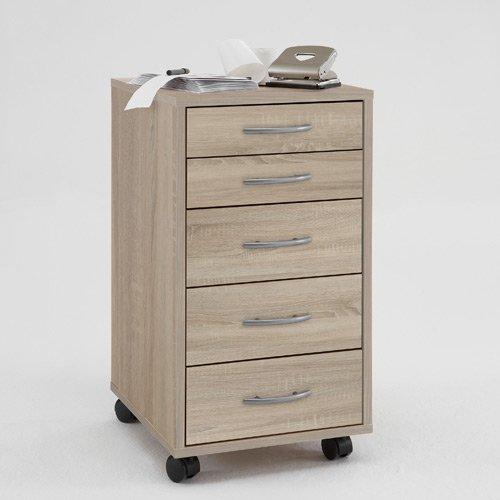 lifestyle4living Rollcontainer mit Schubladen | Bürocontainer hat 5 Schubladen | Schreibtisch-Container in Eiche Sägerau Dekor