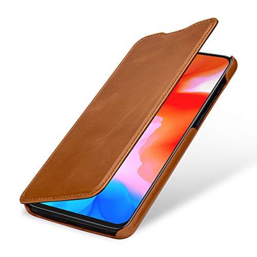 StilGut Lederhülle kompatibel mit OnePlus 6T Book Type, Cognac