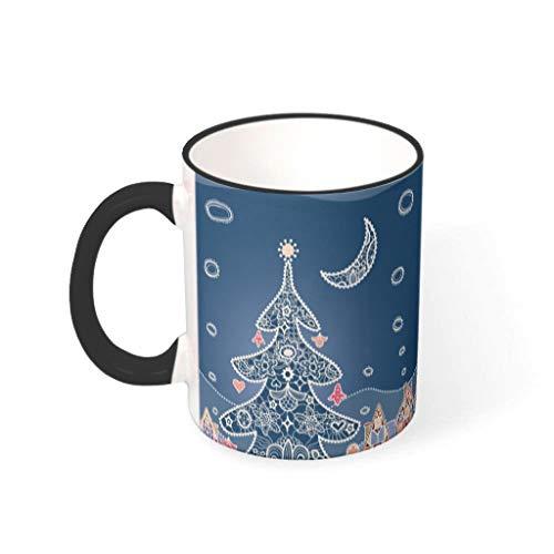 O2ECH-8 11 Oz Christmas Flower Wasser Kaffee Becher mit Griff Porzellan Retro Tasse - Mädchen, Anzug für Familie verwenden drakblack 330ml
