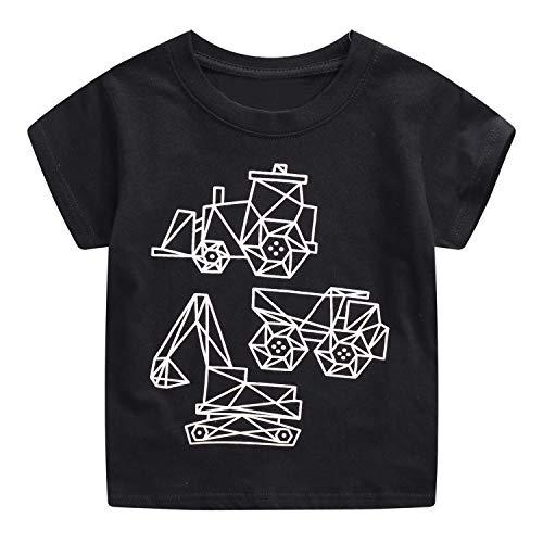 FILOWA Bebé Niño Camiseta Manga Corta Algodon Camisetas Elegante Verano Casual Dibujos Negro Ropa Chico Sudadera Deporte Cuello Redondo Chandal Blanco Excavador Impresión 1 2 3 4 5 6 7 Años