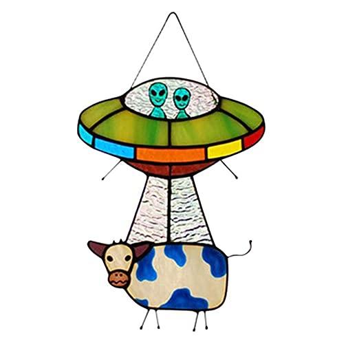 Panel de Ventana Colgante de Vaca alienígena OVNI Pintado, Serie de vidrieras, Adornos, decoración Colgante para el hogar, Regalos para niños