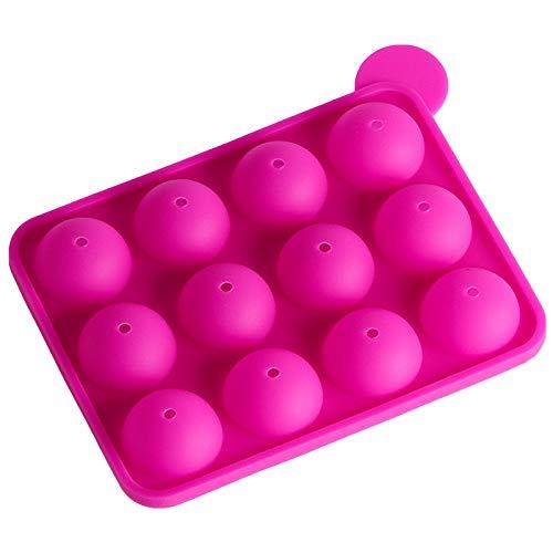 Sphere Molde de silicona para bombas de chocolate, pequeños moldes para hornear con palitos para hacer coca, pasteles, gelatina, mousse, galletas, barra de caramelos, helado, 2 pares (rosado)