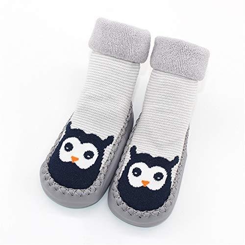 Infant Socks for Baby Warm Booties Sock with Rubber Soles for Toddler Newborn Baby Girl Boy Socks Kids Winter Sock Terry Sliper (Gray, 12cm)