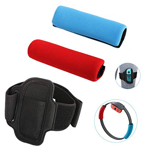 KONEE Accesorios Compatible con Nintendo Switch Ring Fit Adventure, Incluye 2 Cubiertas de Agarre Suave (Rojo + Azul), 1 Correa de Pierna Ajustable (No incluye Juegos, Joy-con y Ring-Con)