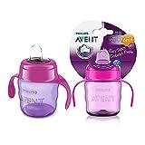 Philips Avent SCF551/03 - Vaso con boquilla de silicona para niña, válvula antigoteo, sin BPA, para bebe de 6 meses, 200 ml, color rosa