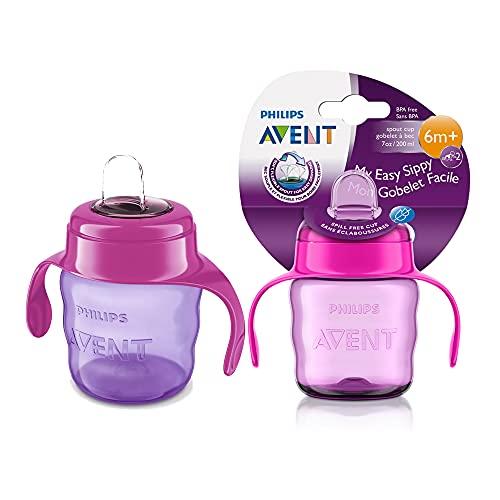 Philips Avent SCF551 03 - Vaso con boquilla de silicona para niña, válvula antigoteo, sin BPA, para bebe de 6 meses, 200 ml, color rosa