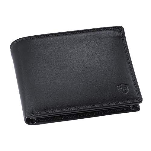 VON HEESEN Geldbeutel Männer mit RFID-Schutz - 13 Fächer - Leder Geldbörse für Damen & Herren - Portemonnaie Portmonaise Brieftasche Portmonnaie Wallet Portmonee (Schwarz)