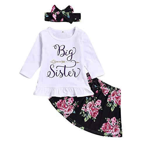 puseky baby meisjes kleine grote zus passende outfits lange mouwen shirt bloemenrok hoofdband kleding gezet