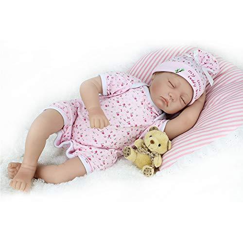 Mr.LQ Wiedergeburtspuppe 22 Zoll 55 cm Realistische geschlossene Augen-Stoff-Eltern-frühe Kindheits-Bildungs-Training Spiel-Puppen der Kinder,Color1,55cm