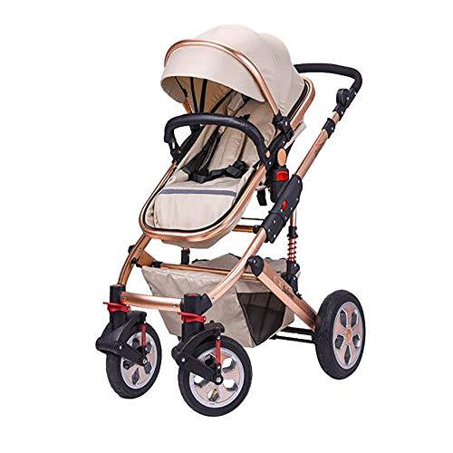 SSRS peuter kinderwagen stoel hoog landschap 2 in 1 van de geboorte pasgeboren kinderstoelen Baby kinderwagens Vouw vijfpuntsgordel twee weg (Tan)