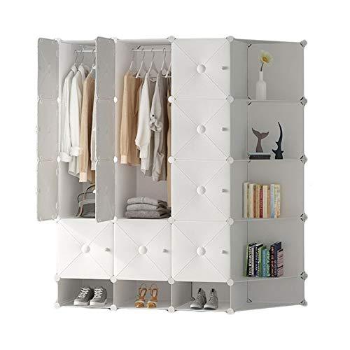 QIFFIY Armario de plástico portátil para ropa de dormitorio, aparador, organizador de almacenamiento con puertas blancas (color B: B)