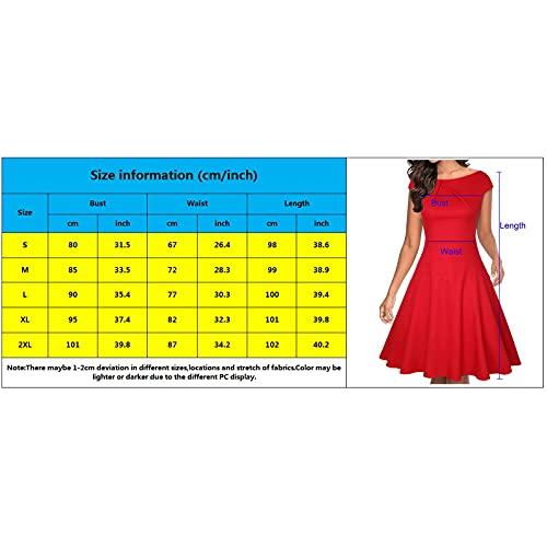 VEMOW Vestido Corta Mujer Midi Manga Corta Talla Grande Cuello Redondo, Últimas Suelto Color Sólido Vestido Oscilación Verano Ropa Túnica Elegante Fiesta Noche Cóctel Informal Sundress(M Rojo,L)