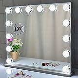 Espejo de cortesía iluminado con 14 bombillas LED Luces reemplazables, Espejos de maquillaje de estilo hollywoodense con diseño de control táctil, Tableros o Espejos de vanidad montados en la pared
