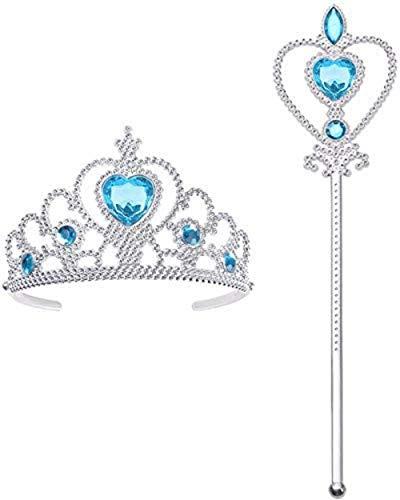 Vicloon 2 PCS Accessori per Vestire Principessa con Diadema,Bacchetta Magica per Ragazze di 3-10 Anni …