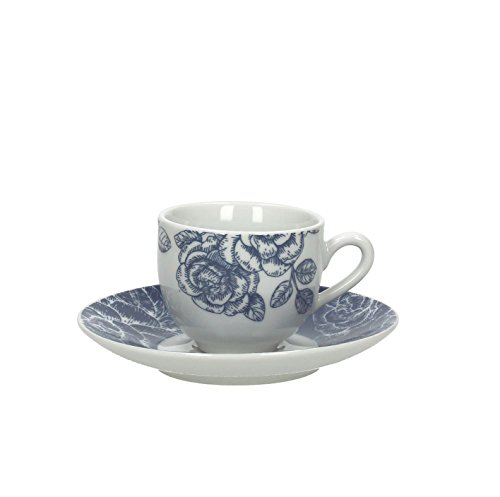 Tognana Olimpia Garden Lot de 6 Tasses à Café avec Soucoupe, Porcelaine, Bleu, 12 x 12 x 5 cm