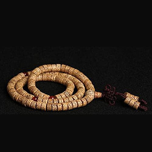 JONJUMP Elastic Rope - Rosario de oración para bodhi mala, 8 x 5 mm, diseño de luna de loto y bodhi de 108 estrellas